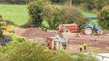 Emergency Services attend the scene of the incident on the farm in Coachford in September 2017. Photo: John Delea