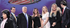 Legal battle: Donald Trump, seen here with his wife, Ivanka, and family, is desperate to stop publication of Mary Trump's tell-all book. Photo: Paul J. Richards/Getty Images