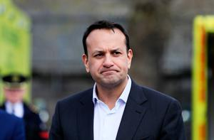 Taoiseach Leo Varadkar speaks to the media during a visit to the Civil Defence Dublin Branch on Wolfe Tone Quay to receive a briefing on the contribution by Volunteers to the Covid-19 response. Photo: Brian Lawless/PA Wire