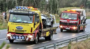 The two vehicles are removed from the scene of a fatal crash on the N78 near Athy, Co. Kildare. Photo: Colin Keegan, Collins Dublin.