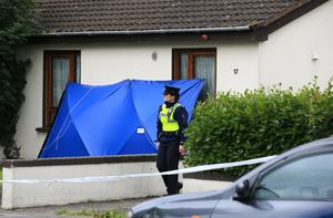 Gardaí at the scene in Clonsilla where a man in                   his 70s was stabbed to death. Photo: Frank McGrath