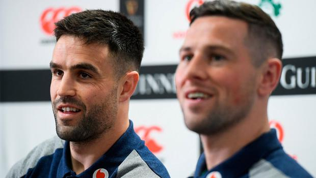 Holding tough: Ireland scrum-halves Conor Murray and John Cooney faced the media together ahead of today's team announcement, which looks set to confirm that Murray will continue in the No 9 jersey. Photo: Ramsey Cardy/Sportsfile