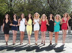 Finalists in this years Miss University 2015 Beauty Pageant (Left to right)  Miss NUI Maynooth -Rebecca Hanley, Miss Dublin Business School -Rebecca Assis, Miss DIT Cathal Brugha Street -Hannah Quirke, Miss Trinyty Wild card -Amira Graham,  Miss DCU -Claudia O'Neill, Miss DIT Kevin Street - Shannen McGetanaggin, Miss Trinty College Dublin -Roise Ni Mhaonaigh, Miss DIT Aungier Street- Hannah Kearns and  Miss University College Dublin -Caroline Shanahan