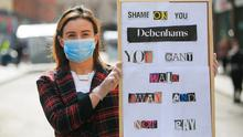 Workers' rights: Aisling McClean from Ballyfermot during a protest by Debenhams in Dublin city centre yesterday. Photo: Gareth Chaney, Collins