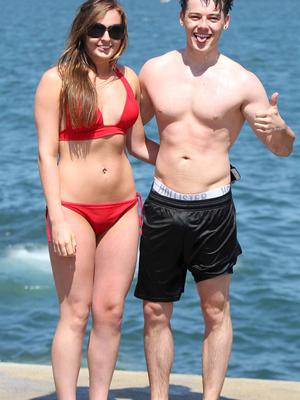 20/06/15 Karen Foley and Zach Orurke enjoying the good weather in the fortyfoot, Sandycove ,Co Dublin this afternoon.... Pic Stephen Collins/Collins Photos