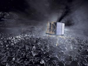 A graphic artist's impression of the Philae lander at work on the comet.