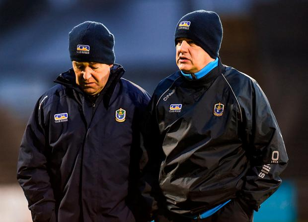 Roscommon manager Kevin McStay, right, with selector Ger Dowd, at Elverys MacHale Park, Castlebar, at the weekend. Photo: Seb Daly/Sportsfile