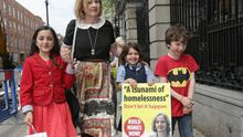 Newly elected Socialist Party TD, Ruth Coppinger, with her daughter Sarah, aged 8, left, and cousins, Daire, 8, and Aliya, 7, on her first day in Leinster House. Picture: Damien Eagers