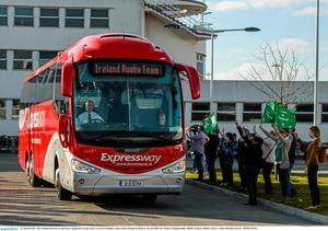 22 March 2015; The Ireland team bus is cheered by supporters on the team's arrival at Dublin Airport after beating Scotland to win the RBS Six Nations Championship. Dublin Airport, Dublin. Picture credit: Brendan Moran / SPORTSFILE
