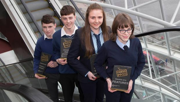 NewsBrands Ireland Press Pass awards which took place at the Convension Centre Dublin. Pictured are from left: Tomás Ó hUallacháin, Pobalscoil Chorca Dhuibhne, An Daingean, the Overall Winner of the NewsBrands Ireland Press Pass Awards, Jack Farrell, Causeway Comprehensive School, Kerry, Winner of the Photojournalism category, Emma McGoey, Mean Scoil Mhuire, Longford, Winner of the Sports category and Caitríona Ní Chonaill, Coláiste Ghobnatan, Baile Mhic Ire, Winner of the Features category. Photo: Fennell Photography 2017.