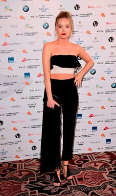 Laura Whitmore arriving at the annual Global Fashion Awards with WGSN at The Park Lane Hotel, London