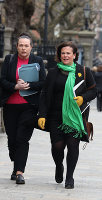 Call for action: Sinn Féin health spokeswoman Louise O'Reilly and leader Mary Lou McDonald at Government Buildings yesterday. Photo: Collins