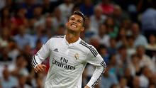 Real Madrid's Cristiano Ronaldo reacts after missing a chance to score during the defeat to Atletico Madrid at the weekend