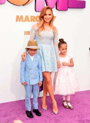 Jennifer Lopez made it a family day out as she brought her children Max and Emme on the red carpet for the premiere of new animated movie 'Home' in Westwood, California.