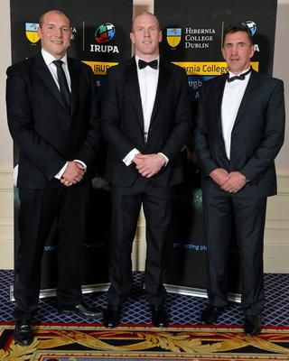Former England lock Ben Kay, Munster's Paul O'Connell and Munster head coach Rob Penney in attendance at the Hibernia College IRUPA Rugby Player Awards 2013. Burlington Hotel, Dublin. Picture credit: Brendan Moran / SPORTSFILE