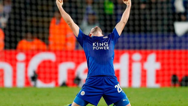 Leicester City's Christian Fuchs celebrates after the game. Photo: Reuters