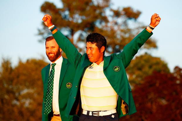 Hideki Matsuyama of Japan celebrates during the Green Jacket Ceremony after wthe Masters at Augusta National Golf Club. (Photo by Jared C. Tilton/Getty Images)