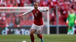 Denmark's Christian Eriksen controls the ball during Saturday's Euro 2020 Group B match between against Finland at Parken Stadium in Copenhagen prior to his collapse due to a cardiac arrest