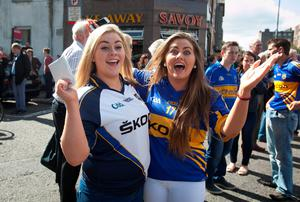 Tipperary fans Rachel Molloy & Roseanne Ryan both from Nenagh at the All Ireland Hurling Final between Kilkenny & Tipperary at Croke Park, Dublin. Photo:  Gareth Chaney Collins