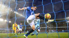 Everton's Seamus Coleman is unable to keep put Fernandinho's header during their clash with Manchester City