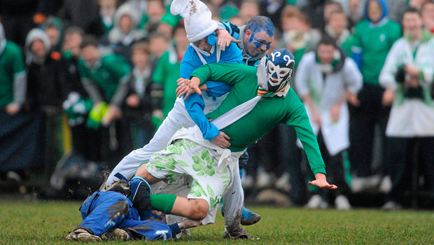 Gonzaga's mascot is tackled by Castleknock supporters during a schools rugby match in 2010 Picture: Sportsfile
