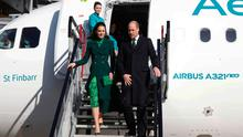 The Duchess of Cambridge steps onto the tarmac at Dublin Airport in a green-on-green ensemble. Photo: AFP via Getty Images