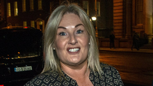 Keeping quiet: Verona Murphy arrives at the Merrion Hotel in Dublin for a patron's reception