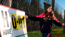 Brooke O'Regan (10), from Kilmacthomas, Co Waterford, updates the score during the Déise's McGrath Cup clash with Cork. Photo by Stephen McCarthy/Sportsfile