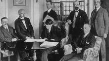 The Irish delegation at the signing of the Treaty in London