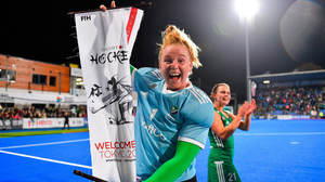 Ayeisha McFerran celebrates after helping Ireland's hockey team qualify for the Olympics last month. Photo by Brendan Moran/Sportsfile