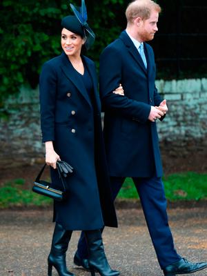 The Duke and Duchess of Sussex arriving to attend the Christmas Day morning church service at St Mary Magdalene Church in Sandringham, Norfolk
