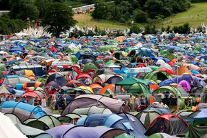 A campsite full of tents at the Glastonbury Festival, at Worthy Farm in Somerset. Photo: Yui Mok/PA Wire