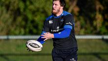 Leinster's Kane Douglas in action during squad training