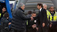 Manchester United manager Jose Mourinho  shanks hands with Chelsea manager Antonio Conte during the EPL Premier League match between Chelsea and Manchester United at Stamford Bridge, London, England on 23 October 2016.  (Photo by Kieran Galvin/NurPhoto via Getty Images)