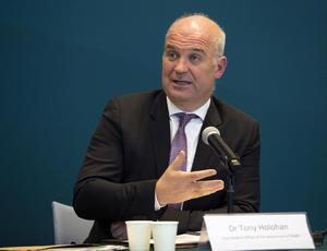 Retained public trust: Chief medical officer Dr Tony Holohan at the Covid -19 update press confere nce yesterday evening. Photo: Collins
