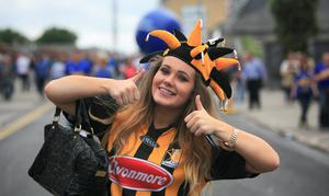 Chloe Hartley from  Ferrybank & Alex Grant from Kilmacow at the All Ireland Hurling Final between Kilkenny & Tipperary at Croke Park, Dublin. Photo:  Gareth Chaney Collins