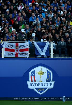 AUCHTERARDER, SCOTLAND - SEPTEMBER 26:  Spectators sit in the stands in the early hours before the Morning Fourballs of the 2014 Ryder Cup on the PGA Centenary course at the Gleneagles Hotel on September 26, 2014 in Auchterarder, Scotland.  (Photo by Mike Ehrmann/Getty Images)