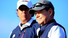 US captain Tom Watson is flanked by Phil Mickelson. Harry How/Getty Images