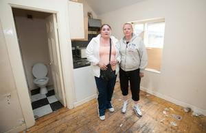 Lorraine Donovan & Mary Fleming who live in a housing complex in Kelly's Row, Dublin where people living there are facing eviction. Photo: Gareth Chaney Collins