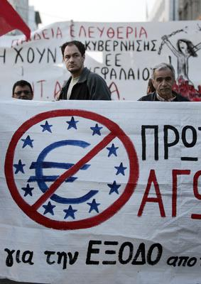 Anti-austerity protests in Greece last year
