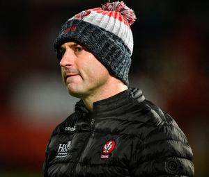 Derry manager Rory Gallagher is hoping the Covid crisis abates and that the GAA can eventually return to play games, at both club and county level. Photo: Sportsfile