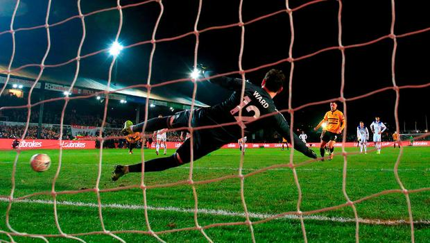 Spot on: Padraig Amond scores Newport's winner from the penalty spot at Rodney Parade. Photo: Nick Potts/PA Wire