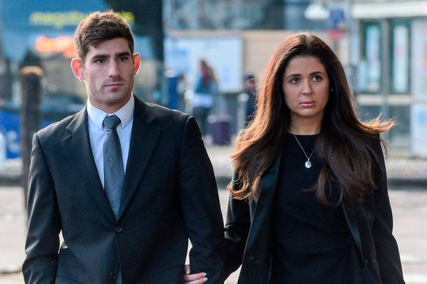 Footballer Ched Evans arrives at Cardiff Crown Court with partner Natasha Massey Credit: Ben Birchall/PA Wire
