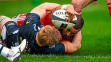 25 January 2015; Simon Zebo, Munster, scores his side's first try despite the efforts of David Seymour, Sale Sharks. European Rugby Champions Cup 2014/15, Pool 1, Round 6, Munster v Sale Sharks. Thomond Park, Limerick. Picture credit: Diarmuid Greene / SPORTSFILE