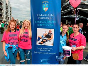 30 August 2015; Judes for Jack collectors, left to right, Laura Doherty, Ciara Morris, Ellen Joyce, and Geraldine McTavish, from the Naomh Jude GAA Club, in Templeouge, Co. Dublin, before the game. GAA Football All-Ireland Senior Championship, Semi-Final, Dublin v Mayo, Croke Park, Dublin. Picture credit: Dire Brennan / SPORTSFILE