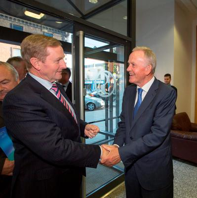 The Taoiseach Enda Kenny meets INM chairman Leslie Buckley at the company's offices on Talbot Street in Dublin this evening. Photo: Mark Condren