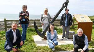 Attending the unveiling of the anchor of the Swedish ship The Saga at Ballybrannigan beach in East Cork were, from left, Sean O'Callaghan, Cork County Council senior executive officer, Patricia O'Connell, who recovered the anchor, Mary Linehan-Foley, Mayor of the County of Cork, Rachel O'Callaghan, Cork County Council, Conor Nelligan, Cork County Council heritage officer and Cllr Michael Hegarty, chairman of the East Cork Municipal District. Picture: David Keane