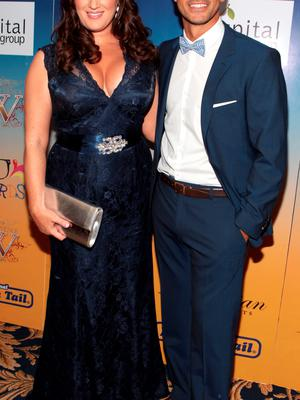 Elaine Crowley and  Ray Shah at the final of Miss Ireland 2014