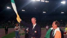 Ireland manager Jack Charlton waves to the supporters following his side's defeat in the FIFA World Cup 1990 Quarter-Final between Italy and Republic of Ireland at the Stadio Olimpico in Rome, Italy. Photo by Ray McManus/Sportsfile