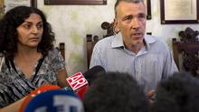Brett and Naghemeh King, parents of Ashya King, speak during a press conference in Sevilla, Spain, Wednesday, Sept. 3, 2014. The British parents are heading to see him at a hospital in southern Spain following release their from custody after United Kingdom authorities dropped accusations of child cruelty against them